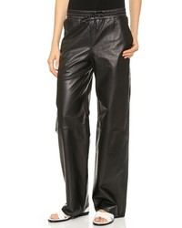 Pantalones de pijama de cuero negros de Alexander Wang