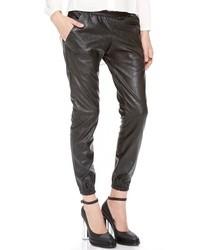 Pantalones de pijama de cuero negros de Heidi Merrick