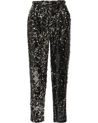 Pantalones de pijama de lentejuelas negros de Milly
