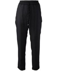 Pantalones de pijama de rayas verticales negros