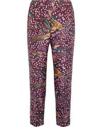 Pantalones de seda estampados burdeos de J.Crew