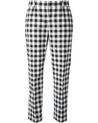Pantalones pitillo a cuadros en blanco y negro de Dolce & Gabbana