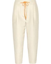 Pantalones pitillo a lunares marrón claro
