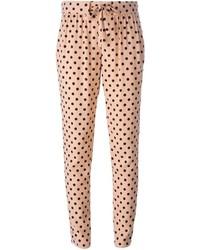 Pantalones pitillo a lunares marrón claro de RED Valentino