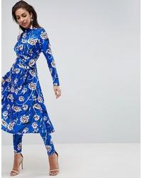 Pantalones pitillo con print de flores azules de ASOS DESIGN