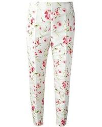 Pantalones pitillo con print de flores blancos de RED Valentino