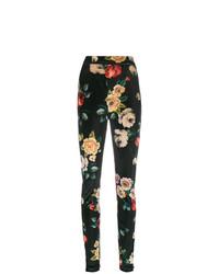 Pantalones pitillo con print de flores negros de ATTICO