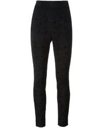 Pantalones pitillo con print de flores negros de Dolce & Gabbana