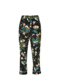 Pantalones pitillo con print de flores negros de Erdem