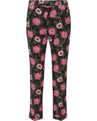 Pantalones pitillo con print de flores negros de Marni
