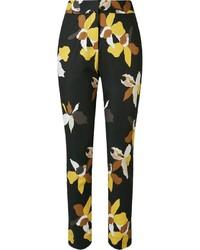 Pantalones pitillo con print de flores negros