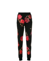 Pantalones pitillo con print de flores negros de Philipp Plein