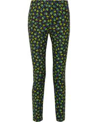 Pantalones pitillo con print de flores negros de Prada
