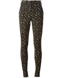 Pantalones pitillo con print de flores negros de Victoria Beckham