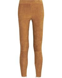 Pantalones pitillo de ante marrón claro de Vince