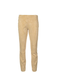 Pantalones pitillo de cuero amarillos de The Row