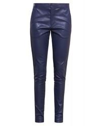 Pantalones pitillo de cuero azul marino de DAY