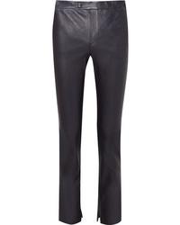 Pantalones pitillo de cuero azul marino de Helmut Lang