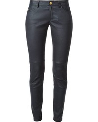 Pantalones pitillo de cuero azul marino de MICHAEL Michael Kors
