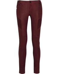 Pantalones pitillo de cuero burdeos de Balmain