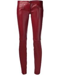 Pantalones pitillo de cuero burdeos de Barbara Bui