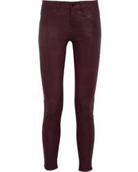 Pantalones pitillo de cuero burdeos de Frame