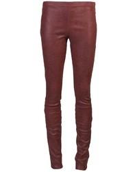 Pantalones pitillo de cuero burdeos de Haider Ackermann