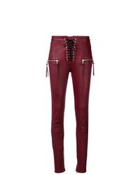 Pantalones pitillo de cuero burdeos de Unravel Project
