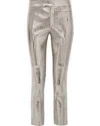 Pantalones pitillo de cuero de rayas verticales plateados de Isabel Marant
