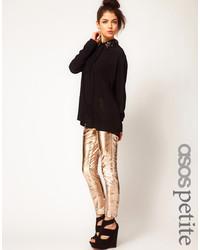 Pantalones pitillo de cuero dorados de Asos Petite