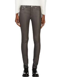 Pantalones pitillo de cuero en gris oscuro de Acne Studios