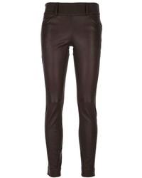 Pantalones pitillo de cuero en marrón oscuro de Brunello Cucinelli