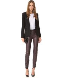 Pantalones pitillo de cuero en marrón oscuro de Just Cavalli