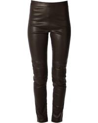 Pantalones pitillo de cuero en marrón oscuro de Neil Barrett
