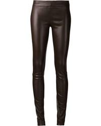 Pantalones pitillo de cuero en marrón oscuro de The Row