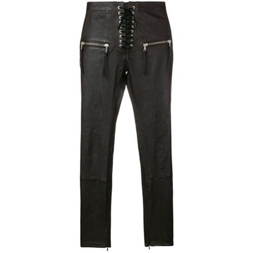 Pantalones pitillo de cuero en marrón oscuro de Unravel Project