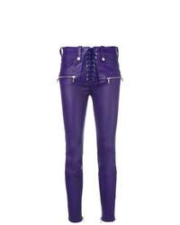 Pantalones pitillo de cuero en violeta