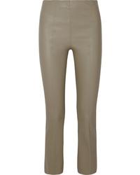 Pantalones pitillo de cuero grises de By Malene Birger
