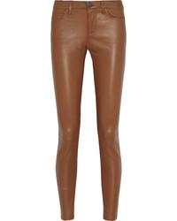 Pantalones pitillo de cuero marrónes