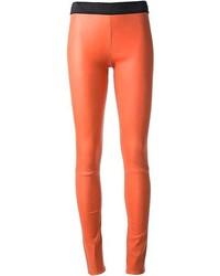 Pantalones pitillo de cuero naranjas de Drome