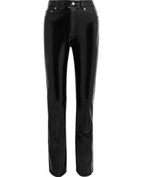 Pantalones pitillo de cuero negros de Helmut Lang