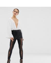 Pantalones pitillo de cuero negros de Missguided Petite