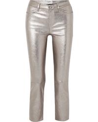 Pantalones pitillo de cuero plateados de Frame