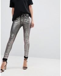 Pantalones pitillo de cuero plateados de Replay