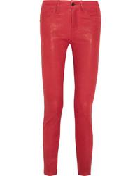Pantalones pitillo de cuero rojos