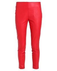 Pantalones pitillo de cuero rojos de Aaiko