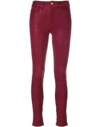 Pantalones pitillo de cuero rojos de Frame