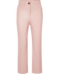 Pantalones pitillo de cuero rosados de Nanushka