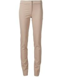 Pantalones pitillo de lana marrón claro