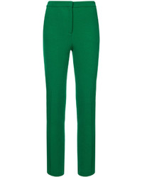 Pantalones pitillo de lana verdes de Oscar de la Renta